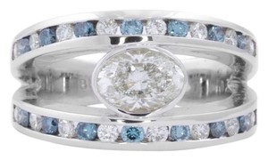 Basel-Set Oval Diamond w Blue and White Diamonds in 18K White Gold