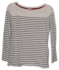 Banana Republic 3/4 Length Sleeves Crew Neck Top Grey and white striped