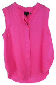 Brand Relations Slit Sides Hot Sleeveless Button Up Top Pink
