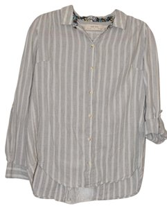 Anthropologie Blouse Lace Button Down Shirt Grey and White Striped