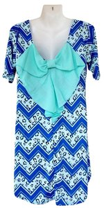 Other short dress mint, blue, white Back Bow Tunic Chevron Leopard on Tradesy