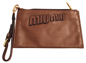 Miu Miu Wristlet in Tan And Gold