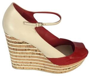 Gucci Red and Cream Wedges