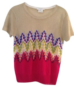 Carven Shell Sheer Shell Short Sleeve Sweater Couture Designer Runway Celeb Print Top Multi