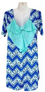 short dress mint, blue, white Back Bow Tunic Chevron on Tradesy