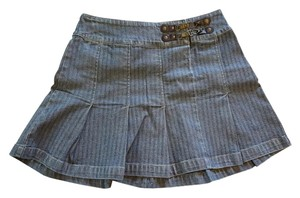 DKNY Denim Pleated Designer Mini Striped Mini Skirt Blue / Grey