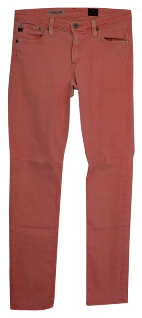 Item - Neon Orange/Pink Light Wash The Stevie Ankle Slim Straight Leg Skinny Jeans Size 26 (2, XS)