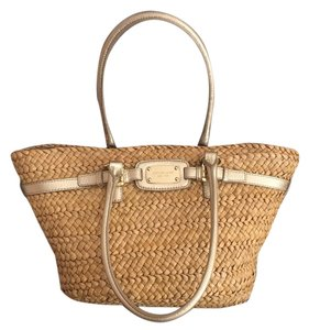 MICHAEL Michael Kors Gold And Tan Beach Bag