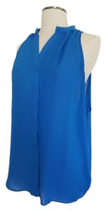 MM Couture Sleeveless Button-down Loose Fit Summer Top Cobalt blue