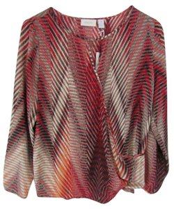 Chico's Chicos Long Sleeve Draped Top Multi-Color