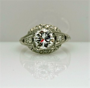 Platinum Engraved Deco 1920's Antique Vintage Engagement Ring Ring Size 6 With 24 Round Diamonds Center Diamond