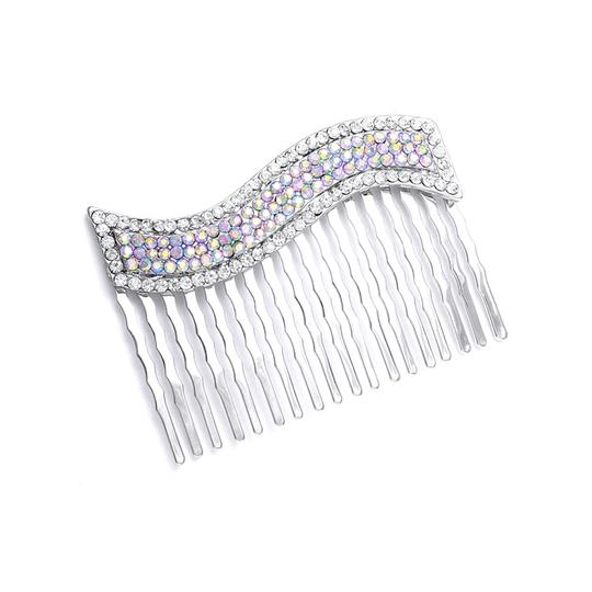 Silver Dazzling Iridescent Ab Vintage Wavy Special Occasion Comb Hair Accessory