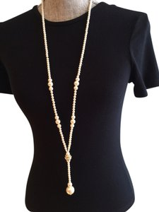 Faux Pearl / Clear Crystal Long Necklace