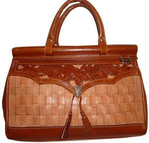 Refurbished Leather Satchel in Brown and Rust