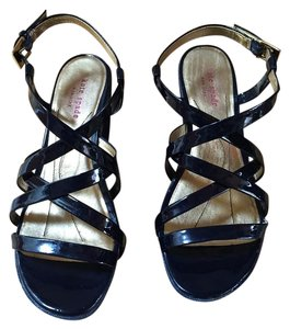 Kate Spade Leather Platform Navy Patent Sandals