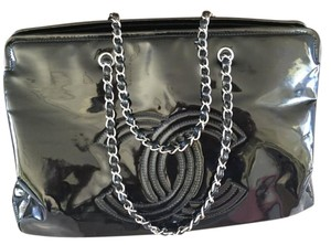 Chanel Patent Leather Siver Chain Tote in Black