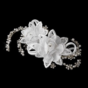 Flower Rhinestone & White Pearl Wedding Bridal Special Occassion Comb