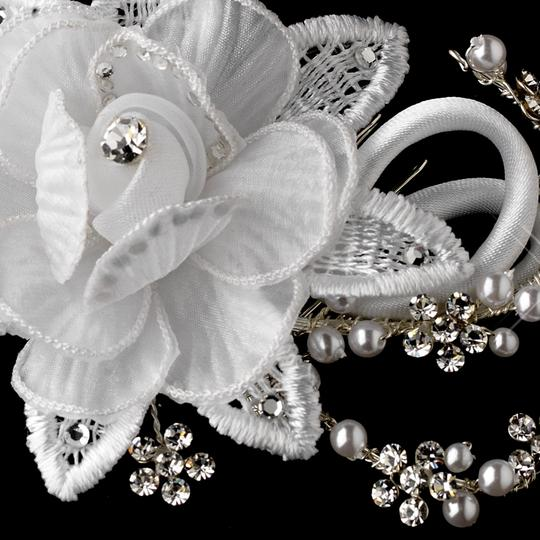 White Flower Rhinestone Pearl Special Occassion Comb Hair Accessory