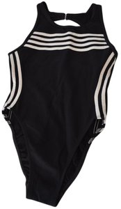 adidas Black Swimsuit with white stripes
