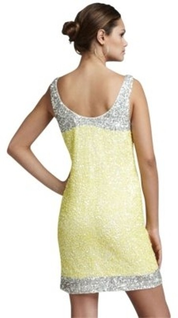 Preload https://item5.tradesy.com/images/french-connection-yellow-fast-rainbow-color-block-sequin-above-knee-cocktail-dress-size-4-s-169824-0-0.jpg?width=400&height=650