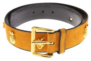 Escada Escada Yellow Suede Fruit Motif Belt, Size 36 (28791)