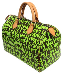 Louis Vuitton Speedy Graffiti Satchel in Green