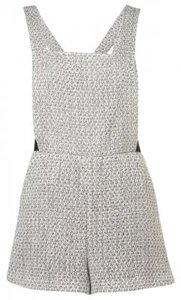 Topshop Romper Overall Silver Suit Shorts Metalic