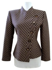 Armani Collezioni Striped Asymmetrical Italy Taupe Jacket