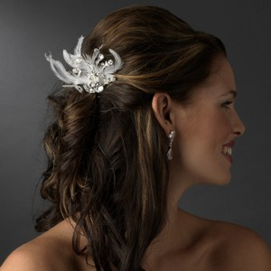 Gorgeous Rhinestone Dazzle Feather Bridal Hair Comb