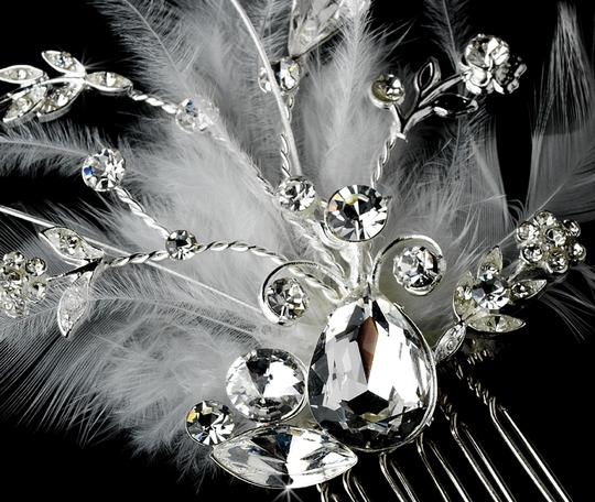 Ivory Or White Rhinestone Dazzle Feather Comb Hair Accessory