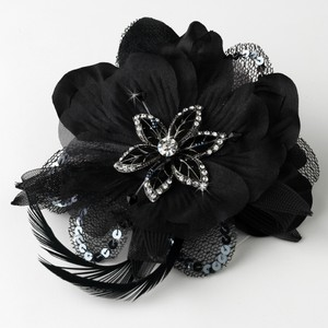 Black Rhinestone & Beads Feather Fascinator Wedding Special Occassion Clip