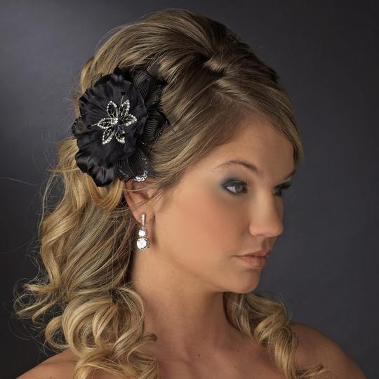 Black Rhinestone Beads Feather Fascinator Special Occassion Clip Hair Accessory