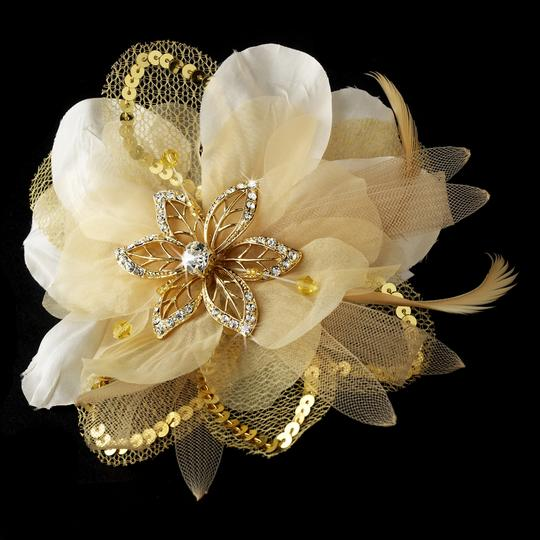 Gold Rhinestone & Beads Feather Fascinator Wedding Special Occassion Clip