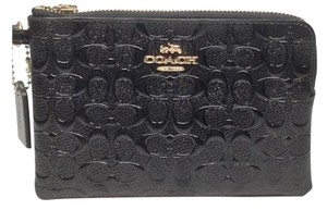 Coach Brand New COACH Corner Zip Patent Leather F55206 Black small Wristlet
