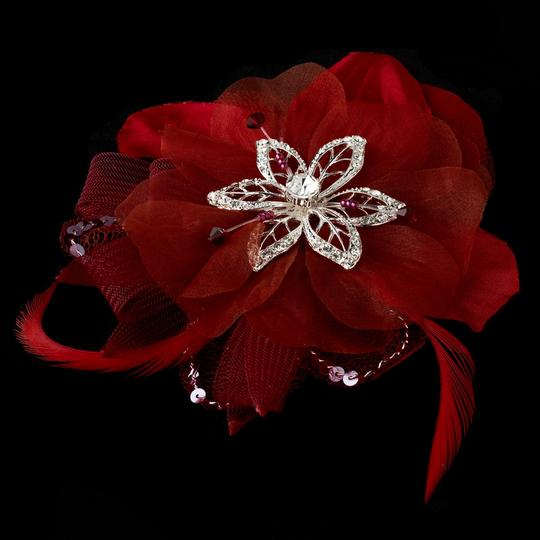 Red Flower Rhinestone Beads Feather Fascinator Special Occassion Clip Hair Accessory