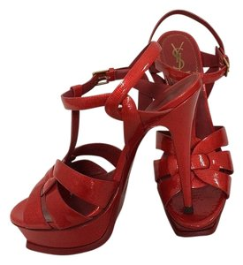 Saint Laurent red metallic Sandals