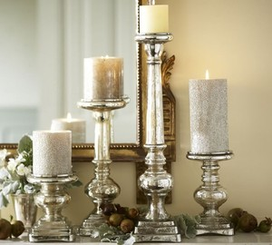 Pottery Barn Antique Mercury Glass Pillar Candle Holders (set Of 2)