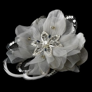Chic Flower Rhinestone & Beads Feather Fascinator Wedding Special Occassion Clip