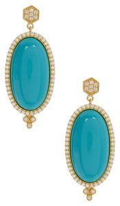 Freida Rothman Freida Rothman 14K Gold Plated Sterling Silver Pave Framed Turquoise Slice Earrings
