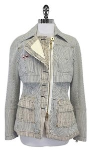 Altuzarra White & Navy Pinstriped Cotton Jacket