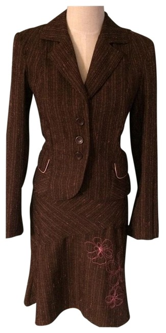 Item - Brown and Pink 57911 Skirt Suit Size 8 (M)