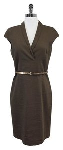 Hugo Boss short dress Brown Wool Linen Cap Sleeve Belted on Tradesy