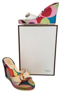 Coach Leather White with Multi Mules