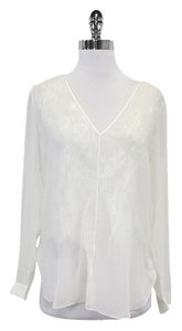 Robert Rodriguez White Long Sleeve Silk Lace Top