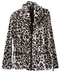 Jones New York Animal Print Leapard Zippered Multi-color Jacket