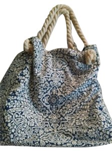 Donna Dixon Extra Large Tote Rope Straps Cotton Blue White Beach Bag