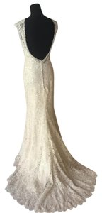 MADISON JAMES Cafe/Champagne/Silver Lace Mj06 Vintage Wedding Dress Size 8 (M)