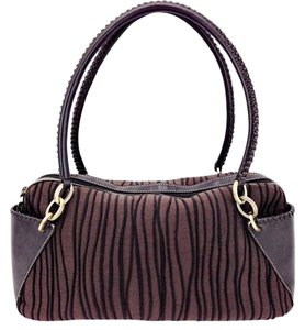 Donald J. Pliner Leather Woven Fabric Stripes Brass Shoulder Bag