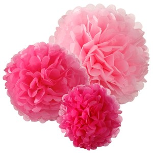 """15pcs - 4"""" 8"""" 12"""" Mixed 3-sizes Fuchsia & Light Pink Tissue Paper Pom-poms Pompom Flower Wedding Party Home Indoor"""