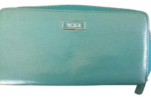 Tumi Tumi Continental Zip Around Wallet Teal / Green Pebbled Leather Clutch